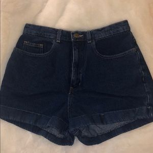 American Apparel high waisted dark denim shorts
